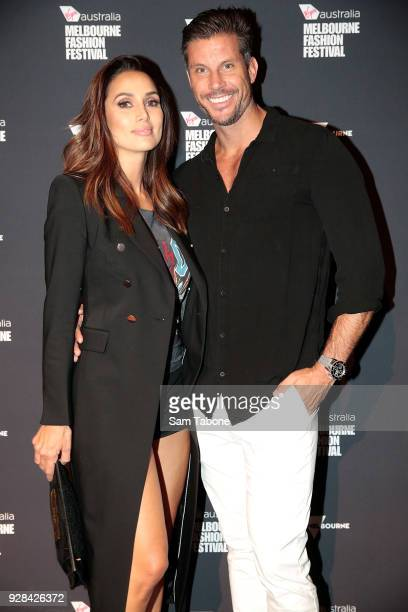 Snezana Markoski and Sam Wood arrives ahead of the VAMFF 2018 Runway 4 presented by Harper's BAZAAR Brides on March 7 2018 in Melbourne Australia