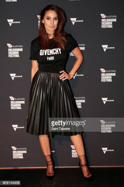 Snezana Markoski arrives ahead of the VAMFF 2018 Virgin Australila Grand Showcase presented by marie claire on March 8 2018 in Melbourne Australia