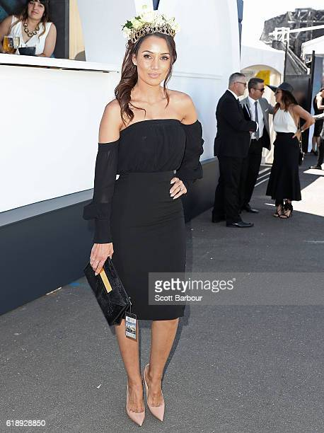 Snezana Markoski arrives on Derby Day at Flemington Racecourse on October 29 2016 in Melbourne Australia