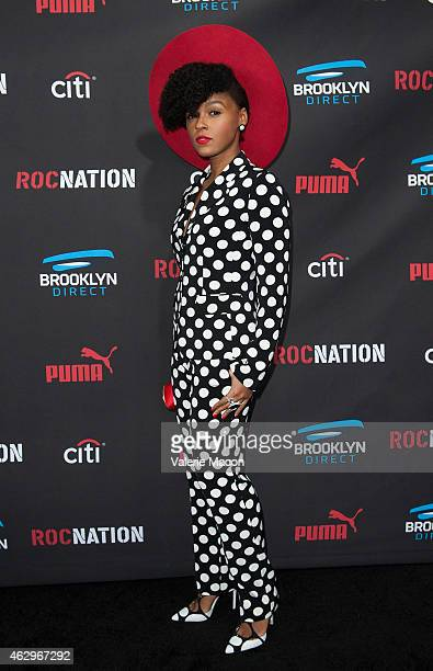 Snger Janelle Monae arrives at the Roc Nation PreGRAMMY Brunch on February 7 2015 in Beverly Hills California