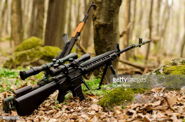 Sniper rifle on a bipod in the forest