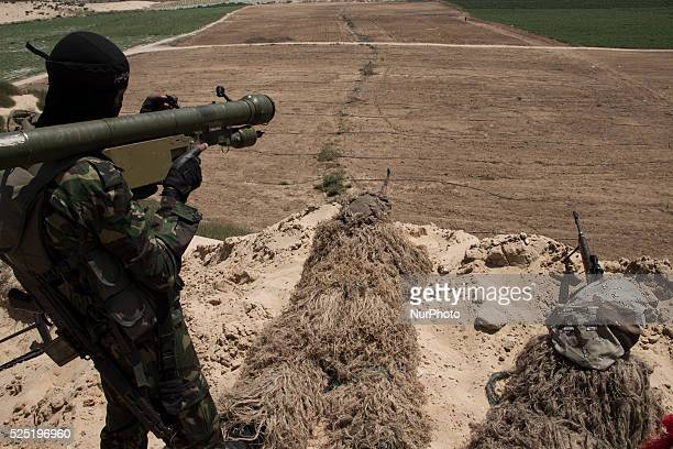 Snipers from alNasser Salah alDeen Brigades the military wing of the Popular Resistance Committees aim their guns to Israel during Military maneuver...