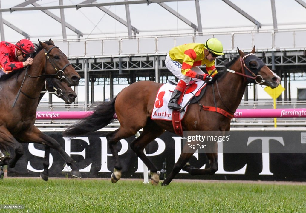 Snitzepeg ridden by Dean Yendall wins Antler Luggage Stakes at Flemington Racecourse on October 07, 2017 in Flemington, Australia.