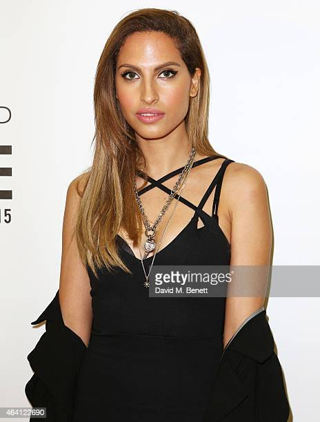 Snoh Aalegra attends the Topshop Unique show during London Fashion Week Fall/Winter 2015/16 at Tate Britain on February 22 2015 in London England