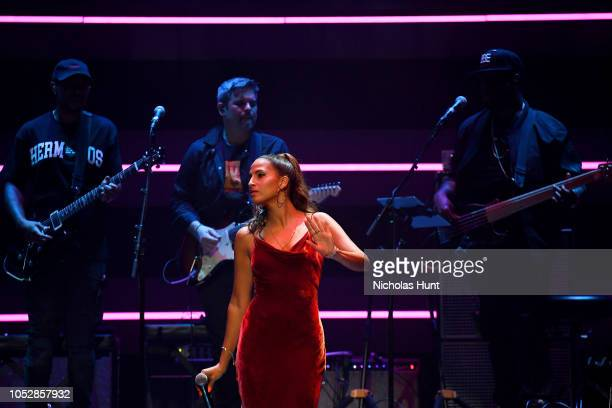 Snoh Aalegra performs onstage during the 4th Annual TIDAL X Brooklyn at Barclays Center of Brooklyn on October 23 2018 in New York City