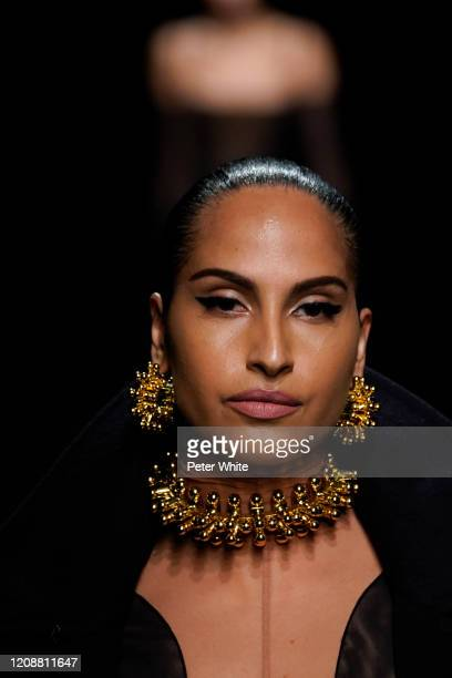 Snoh Aalegra walks the runway during the Mugler show as part of the Paris Fashion Week Womenswear Fall/Winter 2020/2021 on February 26, 2020 in...