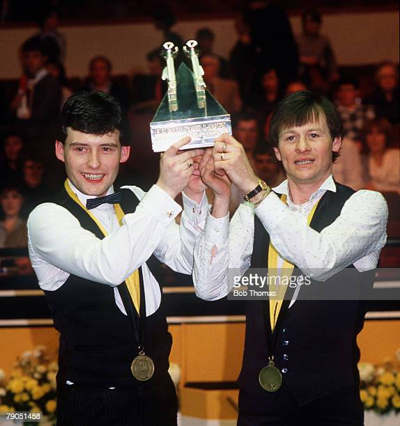 Snooker 1984 Hofmeister World Doubles Championship Alex Higgins with Jimmy White hold the trophy after beating Willie Thorne Cliff Thorburn