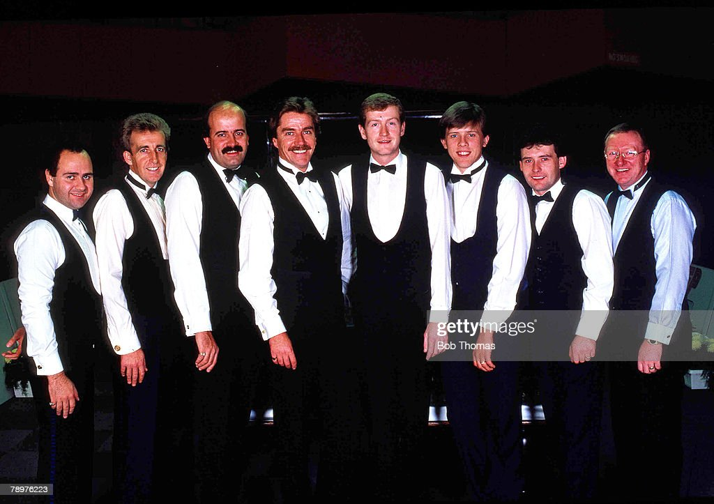 Snooker. 7th October 1988. Barry Hearn+s -Matchroom+ team. (Left to Right) Tony Meo, Terry Griffiths, Willie Thorne, Cliff Thorburn, Steve Davis, Neal Foulds, Jimmy White and Dennis Taylor. : News Photo