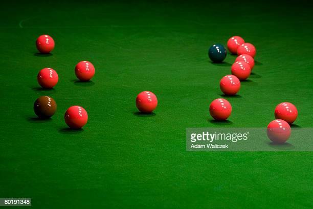 snooker balls on table