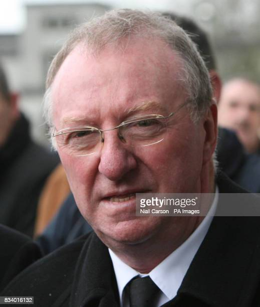 Snooker champion Dennis Taylor arrives for the funeral of singer Joe Dolan at the Cathedral of Christ the King in Mullingar Co Westmeath
