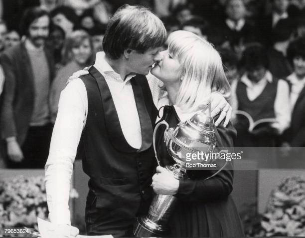 Snooker Final Winner Alex Higgins is congratulated by his wife Linda