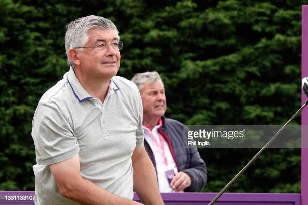 Snooker personality John Parrott in action during the ProAm ahead of the Staysure PGA Seniors Championship at Formby Golf Club on July 28, 2021 in...