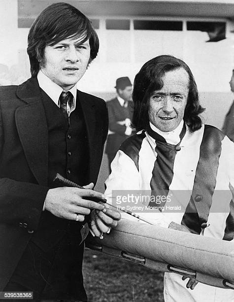 Snooker player Alex Higgins with jockey Kevin Langby at Rosehill Races 12 August 1972 SMH Picture