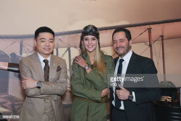 Snooker player Ding Junhui and Zenith's CEO Julien Tornare attend the Zenith event on January 23 2018 in Beijing China