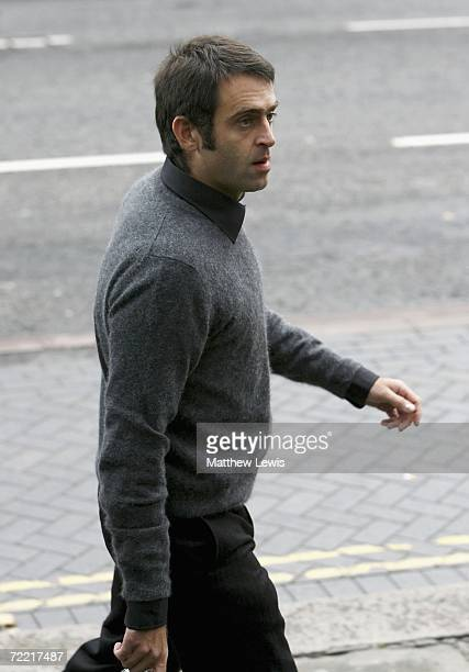 Snooker player Ronnie O'Sullivan attends the funeral of Paul Hunter at Leeds Parish Church on October 19 2006 in Leeds England The threetime Masters...