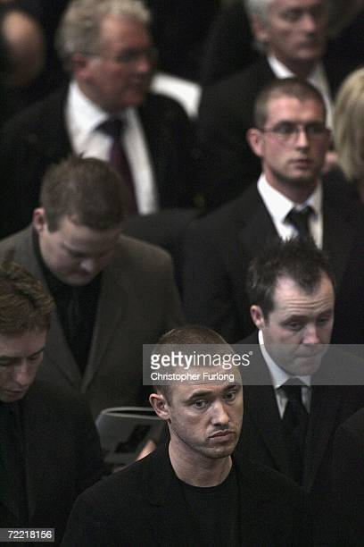 Snooker player Stephen Hendry attends the funeral of snooker star Paul Hunter at Leeds Parish Church during his funeral on October 19 2006 in Leeds...