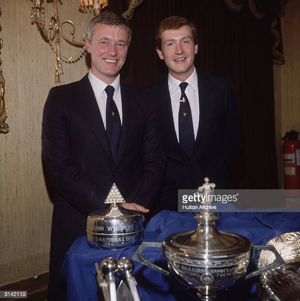 Snooker player Steve Davis at the Cafe Royal with his promoter and manager Barry Hearn, to sign a new one million pound five year contract with...