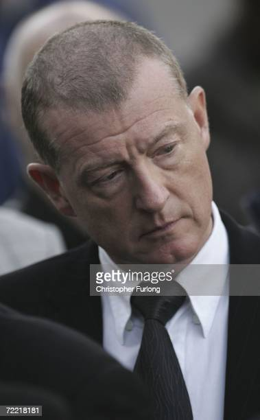 Snooker player Steve Davis attends the funeral of snooker star Paul Hunter at Leeds Parish Church during his funeral on October 19 2006 in Leeds...