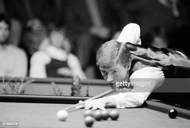 Snooker player Steve Davis of England in action at the Lada Classic held at the Spectrum Arena Wakefield on 12th January 1983
