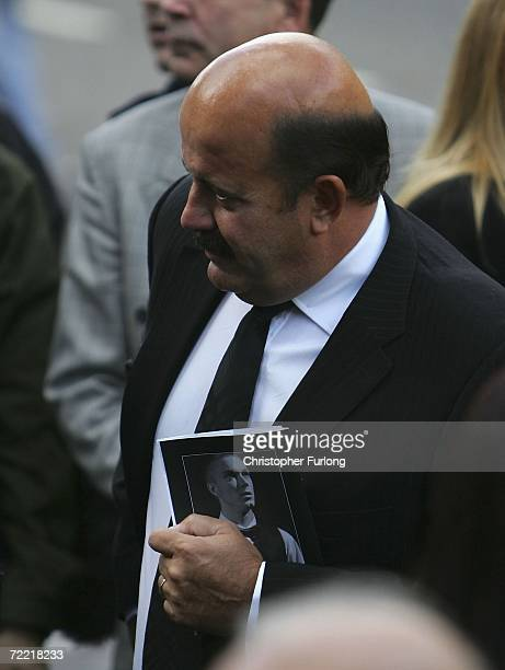 Snooker player Willie Thorne attends the funeral of snooker star Paul Hunter at Leeds Parish Church during his funeral on October 19 2006 in Leeds...