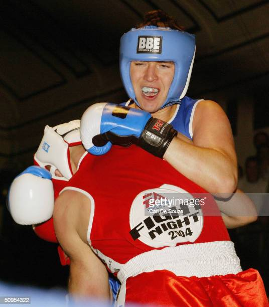 Snooker players Quinton Hann and Mark King fight at the Amateur Boxing Association-sanctioned fight of Quentin Hann v Mark King at York Hall, Bethnal...