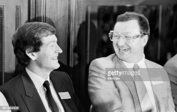 Snooker players Steve Davis and Dennis Taylor who recently contested the classic black ball World Championship Final in Sheffield, attend a press...