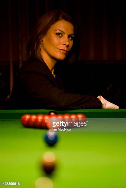 Snooker referee Michaela Tabb posses for photographs at her local snooker club in Dunfermline on June 17 2009 in Dunfermline Scotland