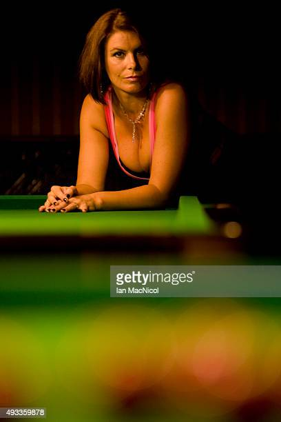 Snooker referee Michaela Tabb posses for photographs at her local snooker club in Dunfermline on October 06 2015 in Dunfermline Scotland