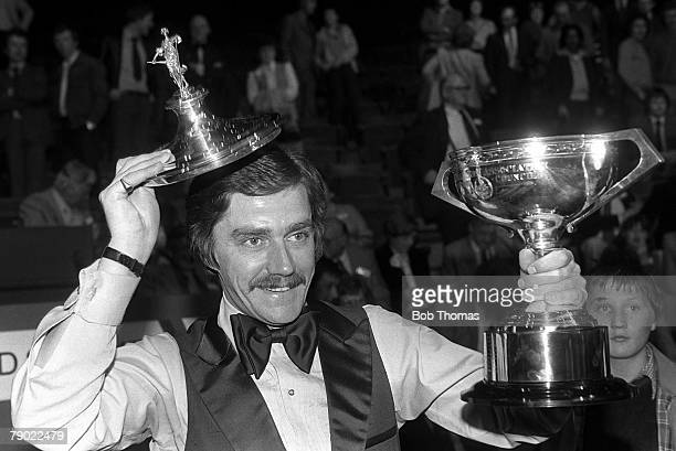 Snooker Sheffield England 5th May 1980 World Champion Cliff Thorburn of Canada holds the trophy at the Crucible Theatre after his victory