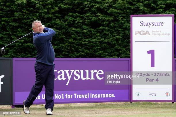 Snooker star, Stephen Hendry in action during the ProAm ahead of the Staysure PGA Seniors Championship at Formby Golf Club on July 28, 2021 in...