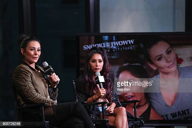 """Snooki and JWOWW discuss their new awestruck show, """"Moms With Attitude"""" at the BUILD Series at AOL HQ on September 14, 2016 in New York City."""
