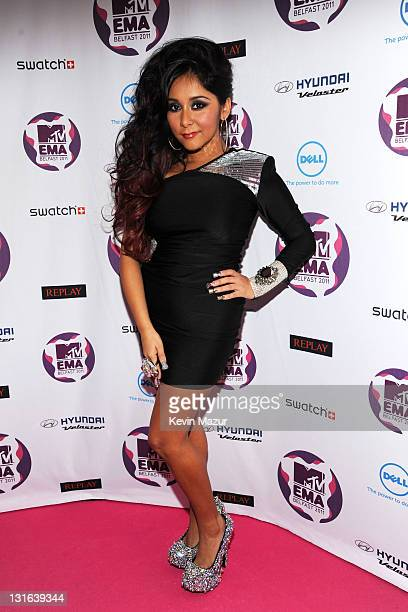 Snooki from 'Jersey Shore' attends the MTV Europe Music Awards 2011 at the Odyssey Arena on November 6 2011 in Belfast Northern Ireland