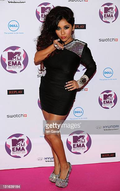 Snooki of Jersey Shore attends the MTV Europe Music Awards 2011 at the Odyssey Arena on November 6 2011 in Belfast Northern Ireland