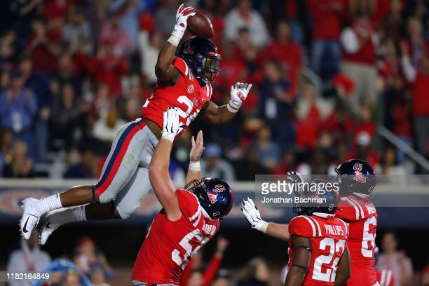 Snoop Conner of the Mississippi Rebels celebrates a touchdown during the second half against the Texas AM Aggies at VaughtHemingway Stadium on...