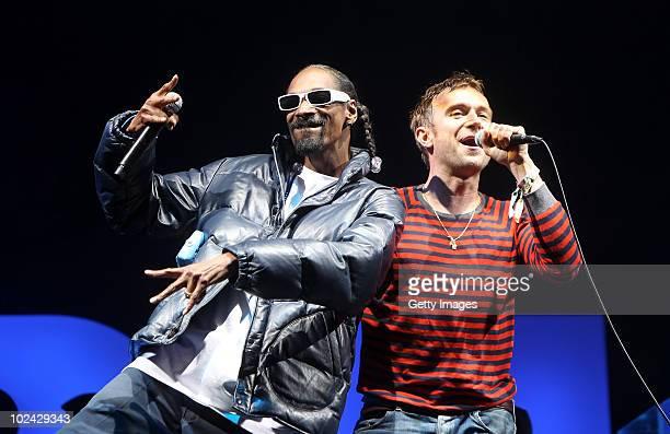 Snoop Dog performs with Damon Albarn of Gorillaz on the Pyramid Stage at Glastonbury Festival 2010 on June 25 2010 in Glastonbury England