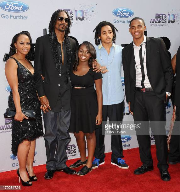 Snoop Dogg aka Snoop Lion wife Shante Taylor and children Corde Broadus Cordell Broadus and Cori Broadus attend the 2013 BET Awards at Nokia Theatre...