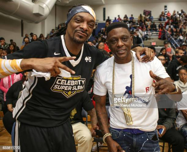 Snoop Dogg and Boosie at Antonio Brown's Celebrity Slam Super Bowl Weekend at Joe K Butler Sports Complex on February 3 2017 in Houston Texas