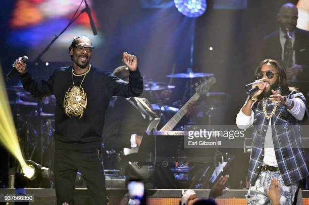 Snoop Dogg and BSlade perform during the 33rd annual Stellar Gospel Music Awards at the Orleans Arena on March 24 2018 in Las Vegas Nevada