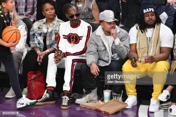 Snoop Dogg and Chance the Rapper attend The 67th NBA AllStar Game Team LeBron Vs Team Stephen at Staples Center on February 18 2018 in Los Angeles...