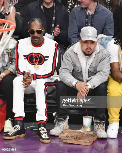 Snoop Dogg and Chance the Rapper attend the NBA AllStar Game 2018 at Staples Center on February 18 2018 in Los Angeles California