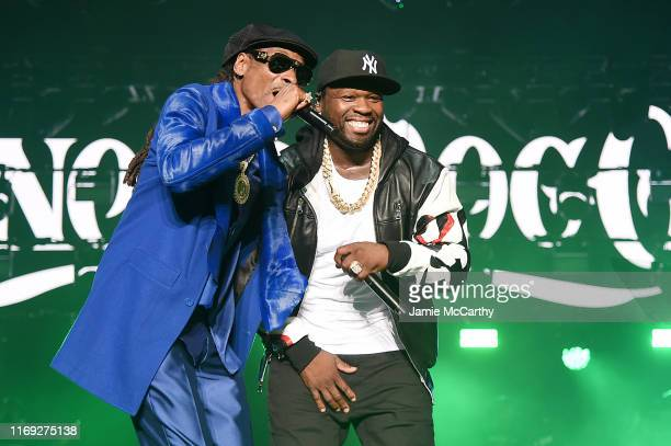 Snoop Dogg and Curtis 50 Cent Jackson perform onstage at STARZ Madison Square Garden Power Season 6 Red Carpet Premiere Concert and Party on August...