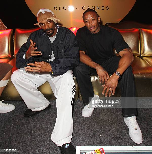 Snoop Dogg and Dr Dre attend the Beats By Dre Party at Gotha Club on July 18 2011 in Cannes France