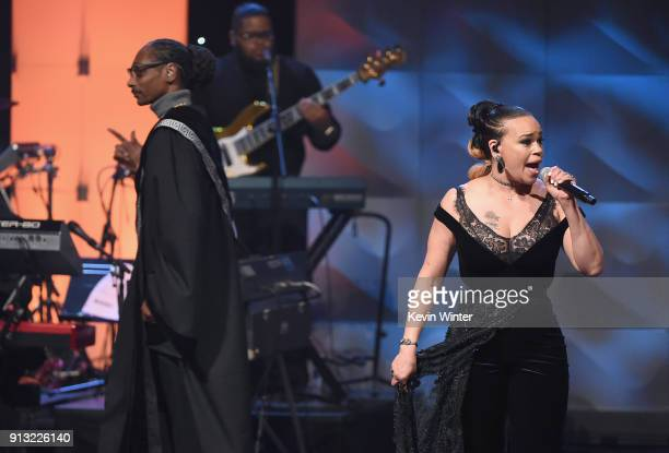 Snoop Dogg and Faith Evans perform onstage during BET Presents 19th Annual Super Bowl Gospel Celebration at Bethel University on February 1 2018 in...
