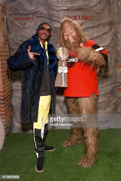 Snoop Dogg and Jack Link's Sasquatch attend the Jack Link's Legend Lounge to kickoff the protein snacking company's pre Super Bowl festivites on...