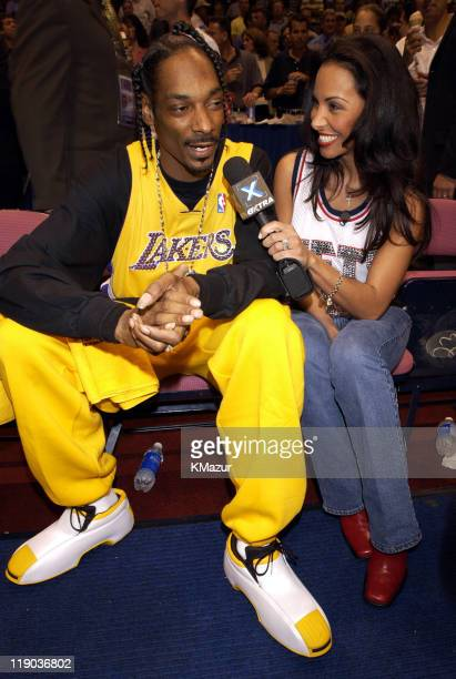 Snoop Dogg and Joumana Kidd during Celebrities at Game 4 of the NBA Finals with the Los Angeles Lakers and the New Jersey Nets at Continental Arena...