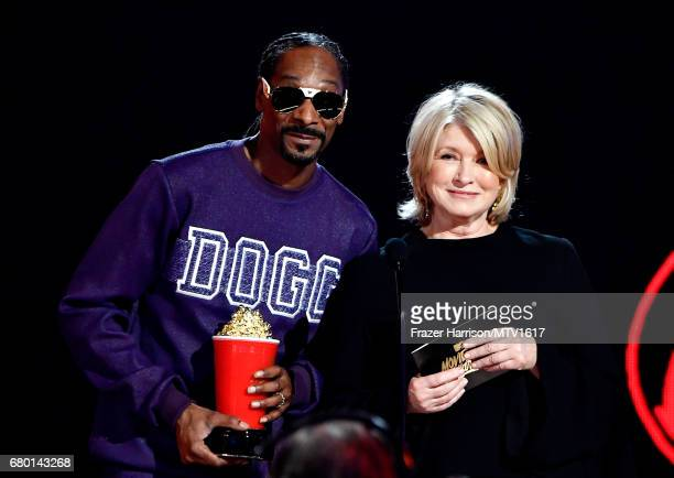 Snoop Dogg and Martha Stewart speak onstage during the 2017 MTV Movie And TV Awards at The Shrine Auditorium on May 7 2017 in Los Angeles California