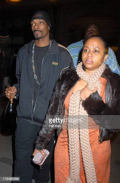 Snoop Dogg and Shante Broadus during Sean P Diddy Combs Paris After Show Party in Paris at VIP Room in Paris France