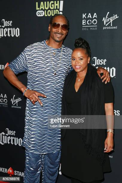 Snoop Dogg and Shante Taylor attends the Kevin Hart and Jon Feltheimer Host Launch Of Laugh Out Loud at Private Residence on August 3 2017 in Beverly...