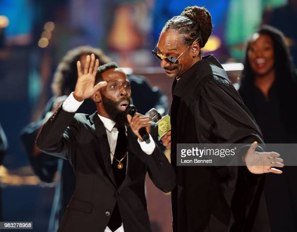 Snoop Dogg and Tye Tribbett perform onstage at the 2018 BET Awards at Microsoft Theater on June 24 2018 in Los Angeles California