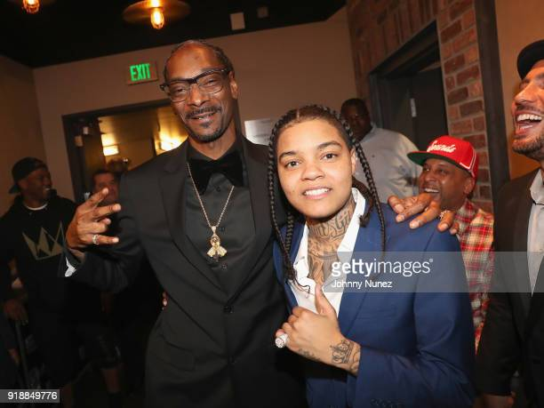 Snoop Dogg and Young MA attend the 2018 Global Spin Awards at The Novo by Microsoft on February 15 2018 in Los Angeles California